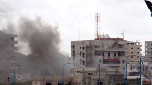 Smoke rises after explosions hit the Syrian city of Tartus