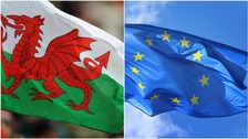 Welsh and European Union Flag