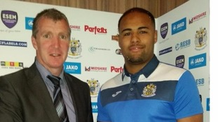Courtney Meppen-Walter (r) with Stockport County manager Jim Gannon