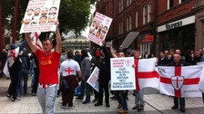 EDL protestors in Walsall town centre