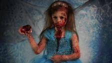 Terrifying: Young child is dressed as a 'zombified Elsa'
