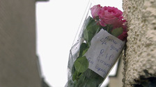 Flowers at the scene of the stabbing in Derry.