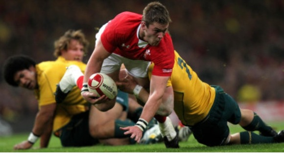 Dan Lydiate playing for Wales