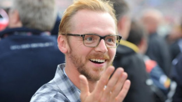 Simon Pegg at the British Grand Prix earlier this year 