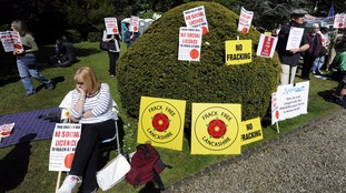 Protesters demonstrated against fracking in North Yorkshire
