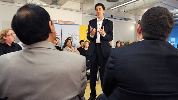 Ed Miliband speaks at a question and answer session in Manchester
