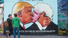 Giant mural of Trump kissing Johnson appears in Bristol