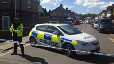 The scene in Luton where a woman's body was found.