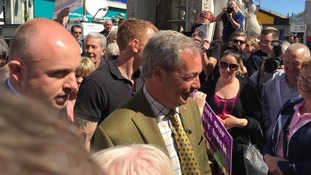 Nigel Farage in Dudley on open top Referendum bus