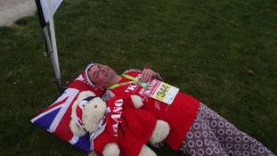 A well earned rest for one of the mini marathon runners!