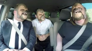 James Corden, J.J. Abrams, and Chewbacca Mom are overcome with hysterics