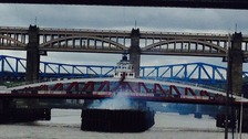 Fire under Newcastle Swing Bridge