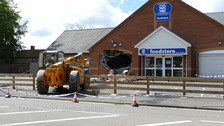 Building destroyed in ATM ram raid with a fork lift truck