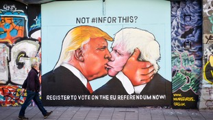 Boris Johnson and Donald Trump pictured in political embrace by artful EU campaigners