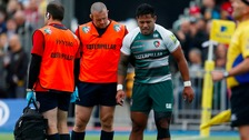 Leicester Tigers' Manu Tuilagi goes off injured during the Aviva Premiership Semi Final at Allianz Park.