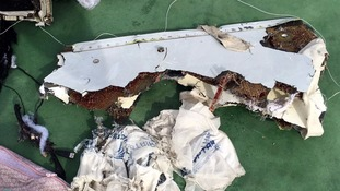 Debris from the wreckage of EgyptAir flight 804