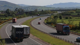 Vehicles cross the border between Dundalk in the Republic of Ireland and Newry in Northern Ireland.
