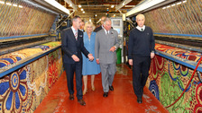 Prince Charles and Camilla visit Ulster Carpets in Portadown.