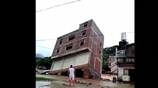 The three-storey building collapsed in less than 10 seconds