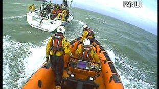 Portsmouth RNLI's Atlantic 85 Lifeboat goes to the aid of injured sailor