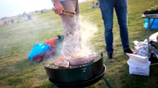 People barbecue
