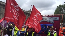 Steelworkers march through Westminster in protest