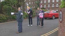 The picket outside the University of Cumbria.