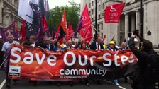 Steelworkers march as Tata compiles list of bidders for UK assets