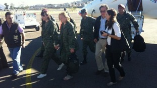 The rescued women appeared in a photo tweeted by Ecuador's Interior Ministry
