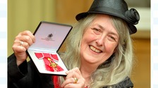 Mary Beard with her OBE