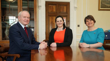 Martin McGuinness, Claire Sugden and Arlene Foster.