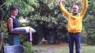 Athlete holds spoof award ceremony in back garden