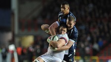 Bristol Rugby's Ian Evans and Doncaster Knights Matt Challinor