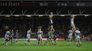 Bristol Rugby win a line out during the GKIPA Championship final, second leg at Ashton Gate, Bristol.