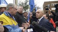 Sajid Javid, seen meeting steel workers in April, is due to inform MPs on Tata negotiations after attending talks in Mumbai.