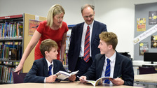 New Education Minister, Peter Weir pictured with Elizabeth Huddleson, Principal of Bangor Grammar School and pupils, Ewan McKenzie (left) and Conor Lusty (right) during a visit to the school.