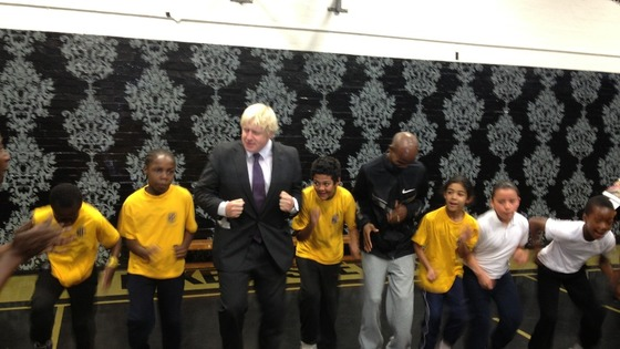 London Mayor Boris Johnson (left) with gold medallist Mo Farah.