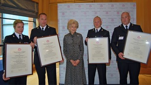 PCs Ryan Hayhurst, Jonathan Lonsdale, Rebecca Sutton-Scott-Tucker and PS John Dingle with Princess Alexandra after receiving their awards