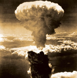 The mushroom cloud from the blast over Nagasaki