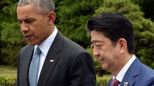 Barack Obama and Japanese Prime Minister Shinzo Abe in Japan.