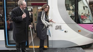 Ozzy Osbourne unveils his name on the tram