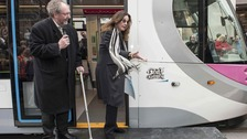 Ozzy Osbourne unveils his name on a tram