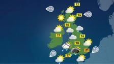 Sunny spells for most of the UK with some heavy showers