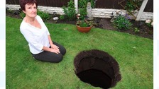 Mother 'shocked' after 12ft hole opens up in garden