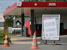 Placards reading 'closed, dried up' have become familiar sights at petrol stations in France amid the strike action.