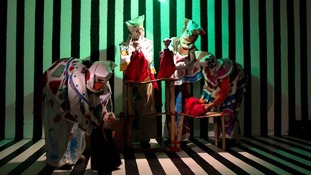 A live puppet show showing the tale of Jesus and Barrabas by the artist Spartacus Chetwynd