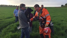 Dramatic rescue after dog trapped at bottom of well