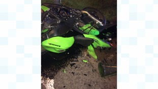 Paramedics say the driver of this motorcycle would have died if not for his leathers