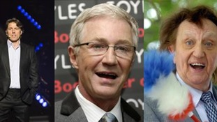 From left to right: John Bishop, Paul O'Grady and Ken Dodd
