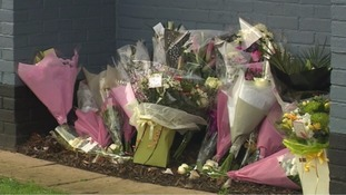 Flowers laid outside the pub where India Chipchase worked.